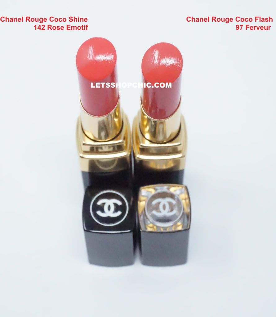 Chanel Rouge Coco Flash lipstick 97 Ferveur and Chanel Rouge Coco Shine lipstick 142 Rose Emotif