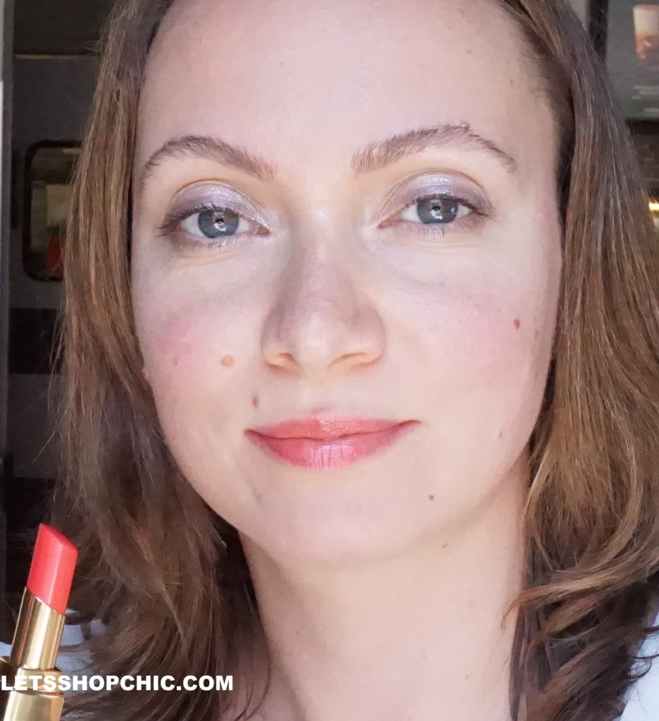 Chanel Rouge Coco Flash lipstick 97 Ferveur on lips