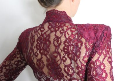 Christmas Evening Gown Vintage Elissa Of California Two-Piece Sheer Lace Red