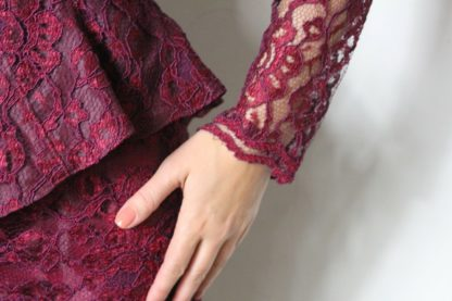 Vintage Elissa Of California Two-Piece Sheer Lace Red Burgundy Skirt Suit Set. Perfect like new condition. No stains, holes or bad odors. Size 10. Measurements: skirt waist 15 inches (one side), hips 18 inches, length 22 inches; Jacket shoulders 17 inches, bust 17 inches, length 25 inches.