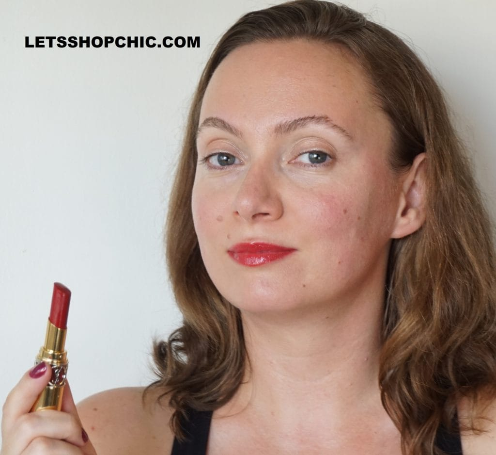 YSL Yves Saint Laurent Rouge Volupte Shine Lipstick 92 Rouge Caftan on lips