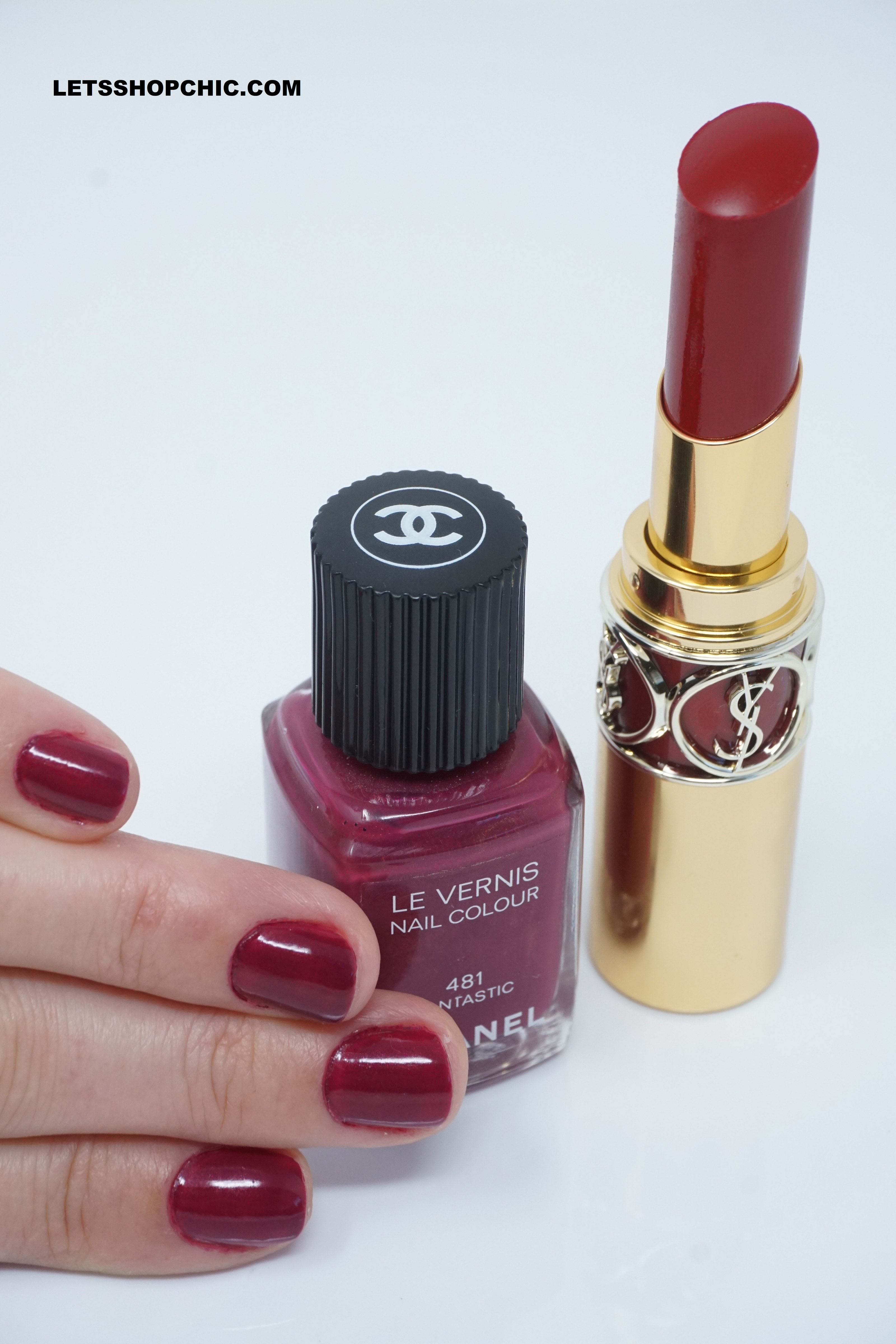 Chanel le vernis nail polish 481 fantastic and YSL Rouge Volupte Shine Lipstick 92 Rouge Caftan