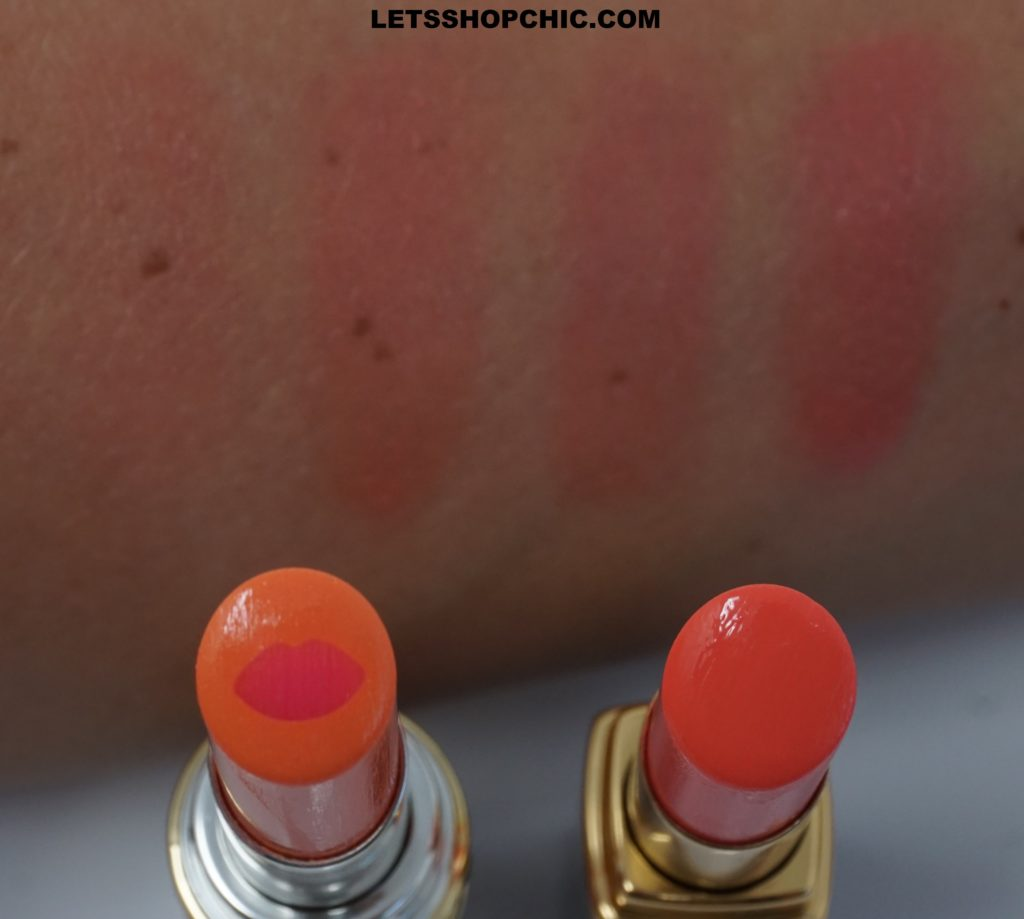 Yves Saint Laurent Volupte Tint-In-Balm 7 Flirt Me Coral vs Chanel Rouge Coco Flash Lipstick 74 Flash swatches