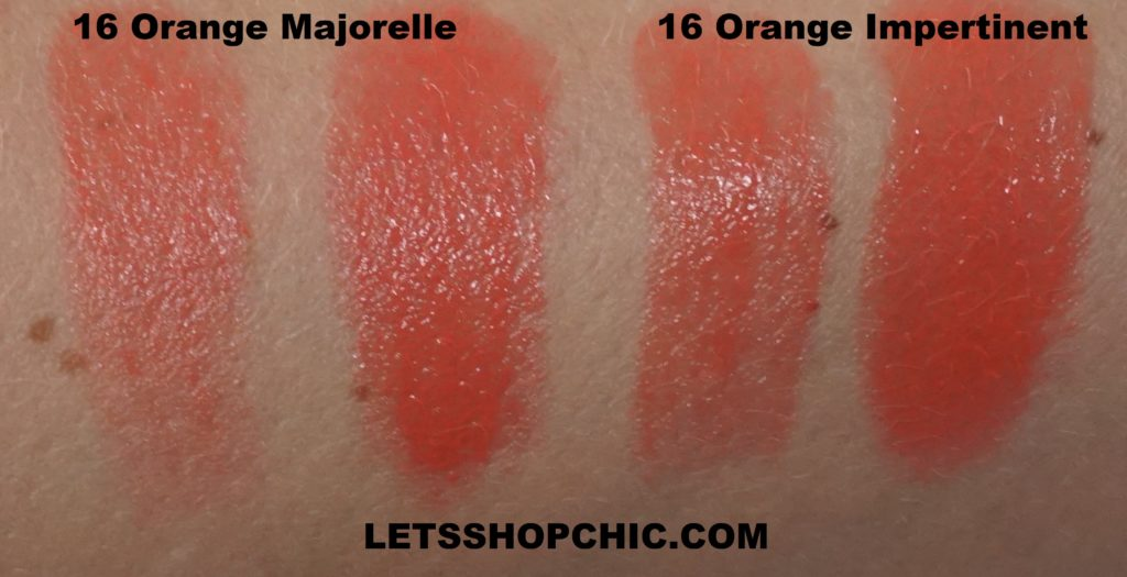 YSL Yves Saint Laurent Rouge Volupte Shine Oil-In-Stick lipstick 16 Orange Majorelle vs 16 Orange Impertinent swatches