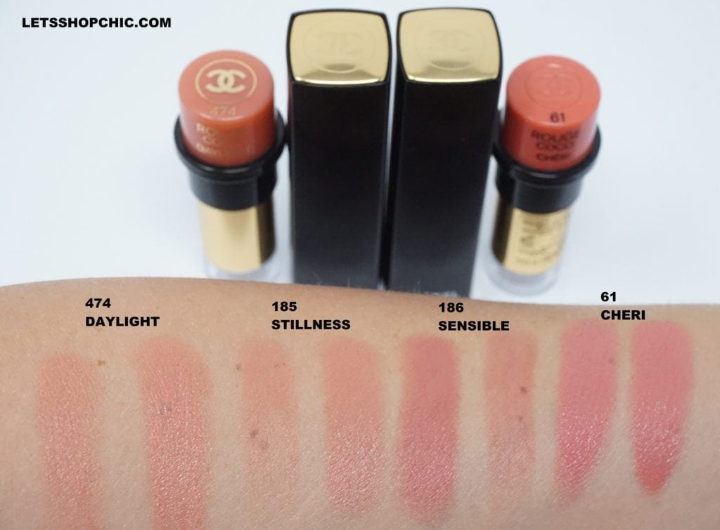 Chanel Rouge Allure Lipstick 185 Stillness, Chanel Rouge Allure Lipstick 186 Sensible, Chanel Rouge Coco 474 Daylight and Chanel Rouge Coco 61 Cheri swatches