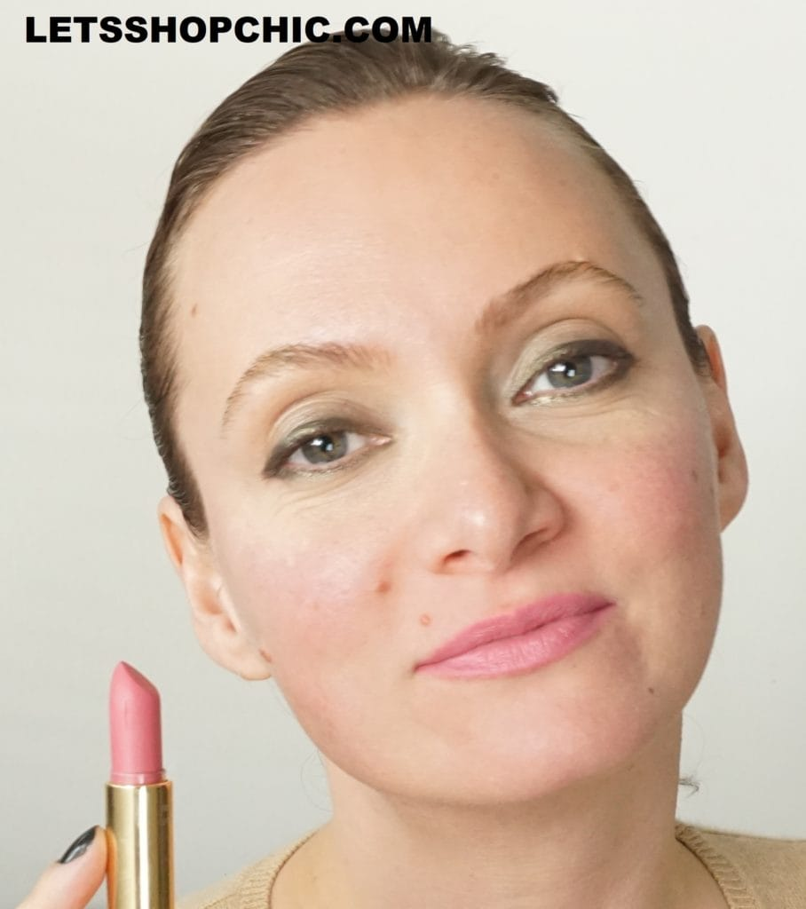 YSL Yves Saint Laurent Rouge Pur Couture The Mats lipstick 224 Rose Illicite on lips