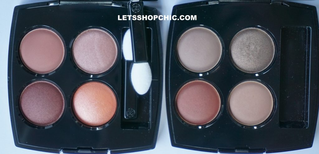 Chanel Les 4 Ombres eyeshadow quad 354 Warm Memories and Chanel Les 4 Ombres Eyeshadow Quad 328 Blurry Mauve