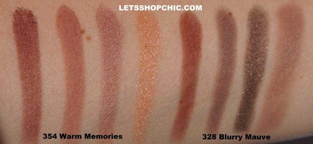 Chanel Les 4 Ombres eyeshadow quad 354 Warm Memories and Chanel Les 4 Ombres Eyeshadow Quad 328 Blurry Mauve swatches