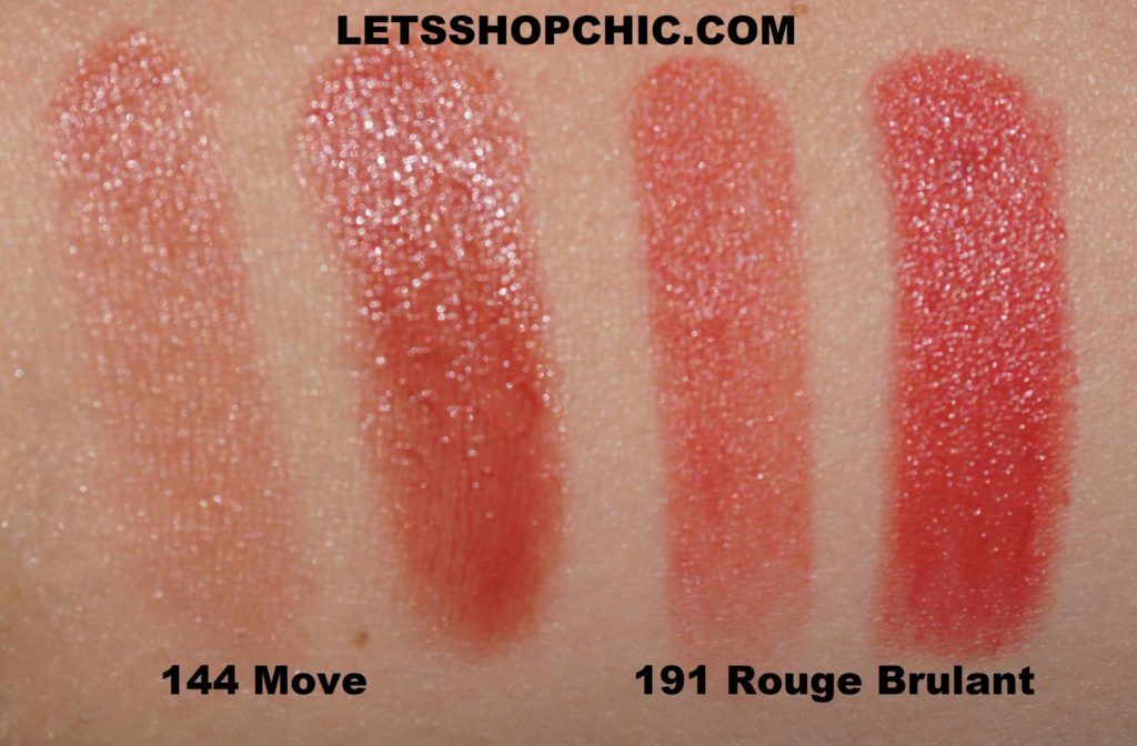 Chanel Rouge Coco Flash 144 Move vs Chanel Rouge Allure 191 Rouge Brulant swatches