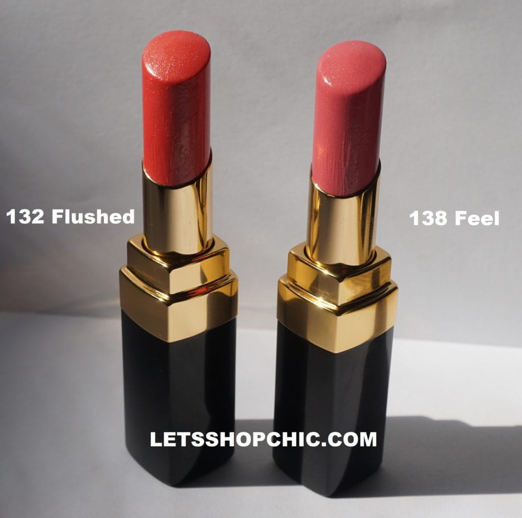 Chanel Rouge Coco Flash 132 Flushed vs 138 Feel