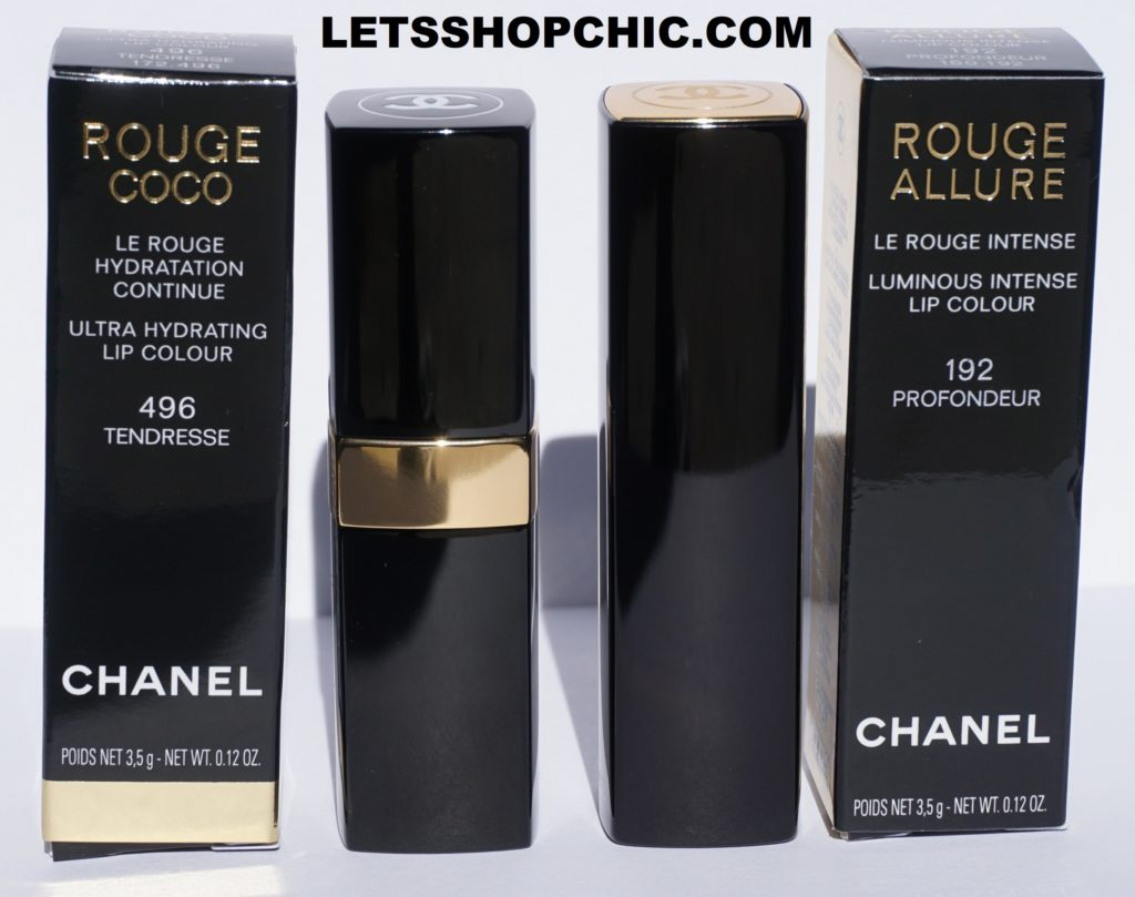 Chanel Rouge Coco lipstick 496 Tendresse and Chanel Rouge Allure lipstick 192 Profondeur