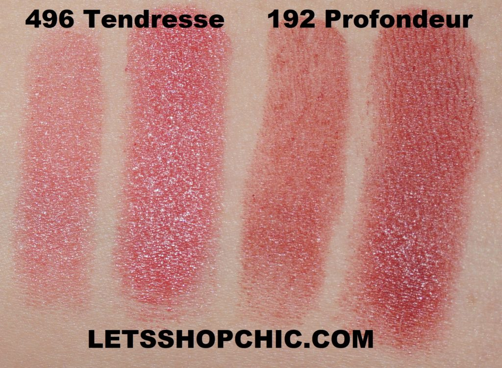 Chanel Rouge Coco lipstick 496 Tendresse and Chanel Rouge Allure lipstick 192 Profondeur swatches