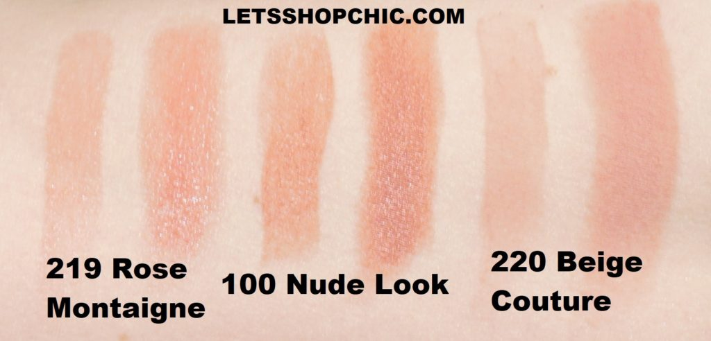 Dior Lipsticks swatches 219 Rose Montaigne, 100 Nude Look and 220 Beige Couture