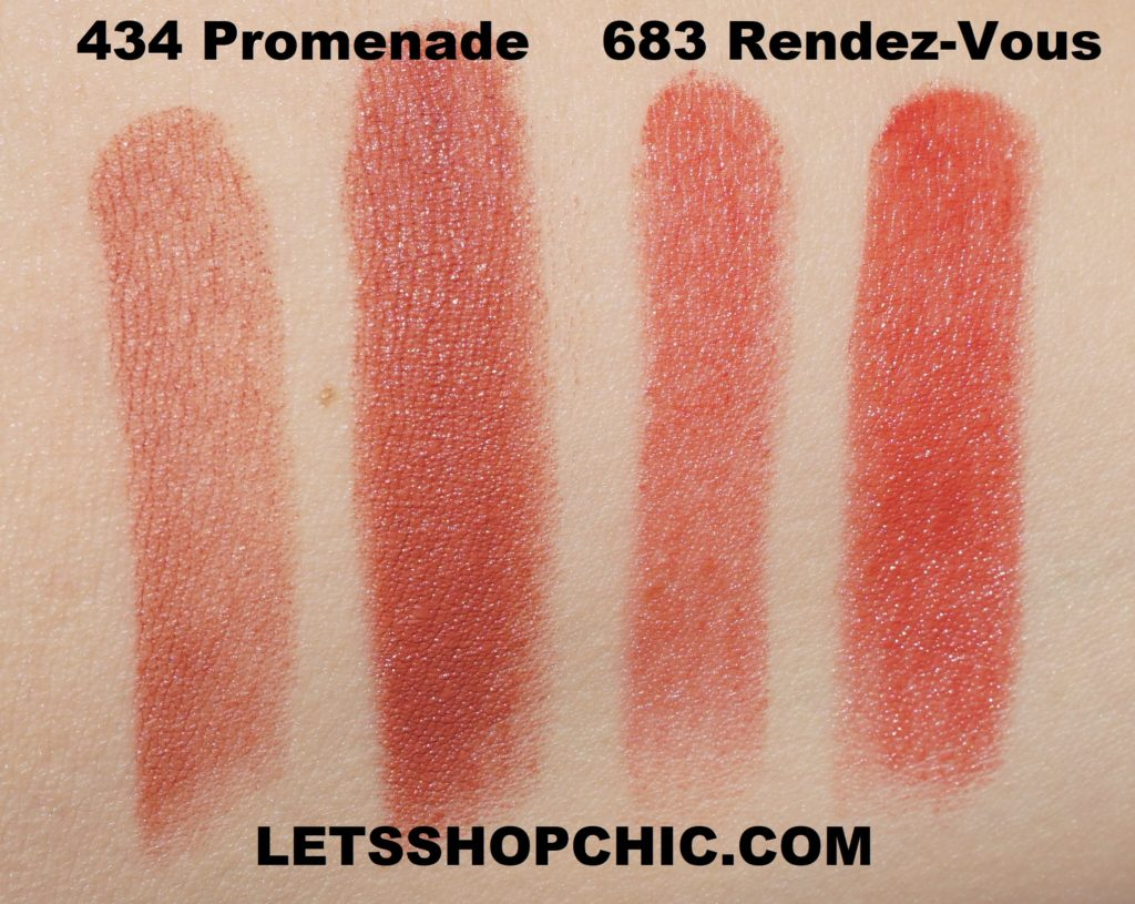 Dior Lipsticks 434 Promenade and 683 Rendez-Vous swatches
