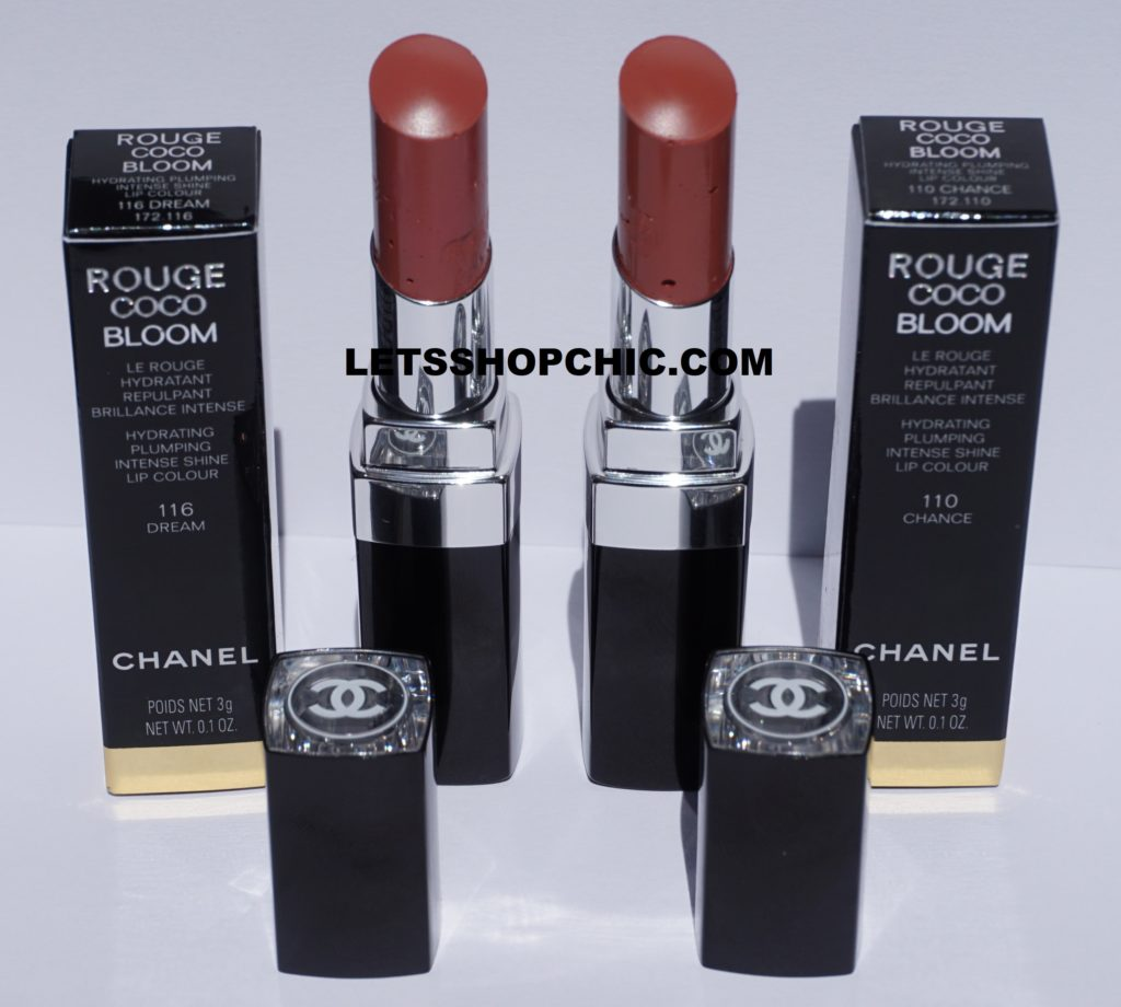2021 Chanel Rouge Coco Bloom lipsticks: 116 Dream and 110 Chance