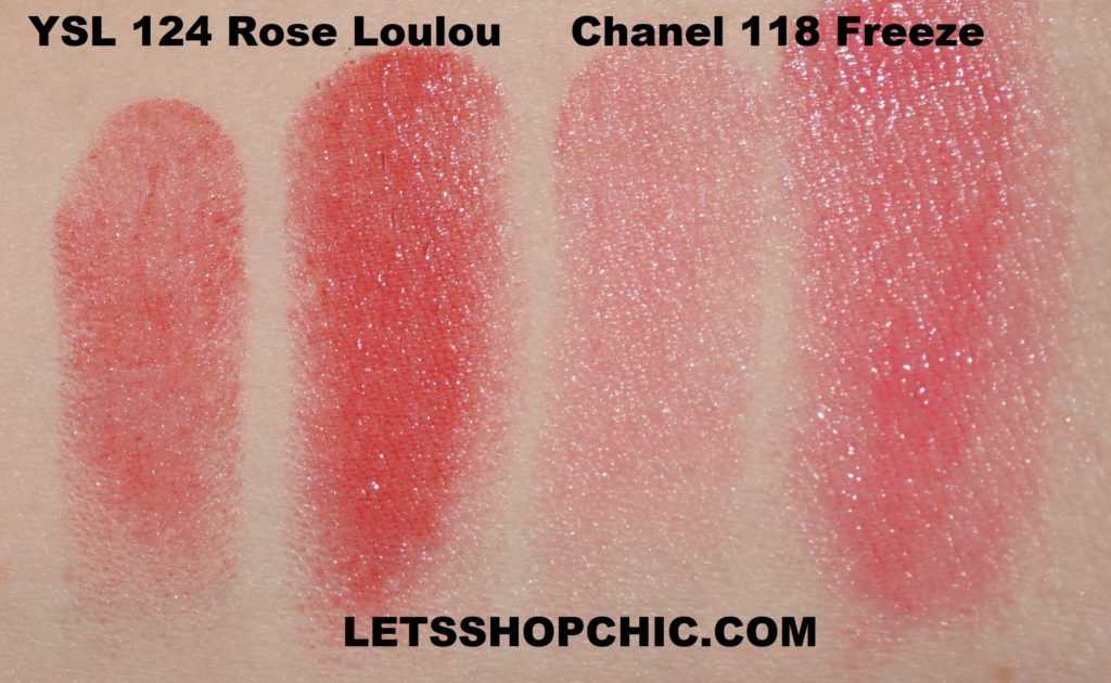 YSL Rouge Volupté Shine lipstick 124 Rose Loulou vs Chanel Rouge Coco Flash 118 Freeze swatches