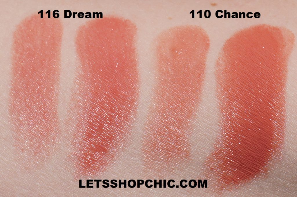 Chanel Rouge Coco Bloom lipsticks: 116 Dream and 110 Chance swatches