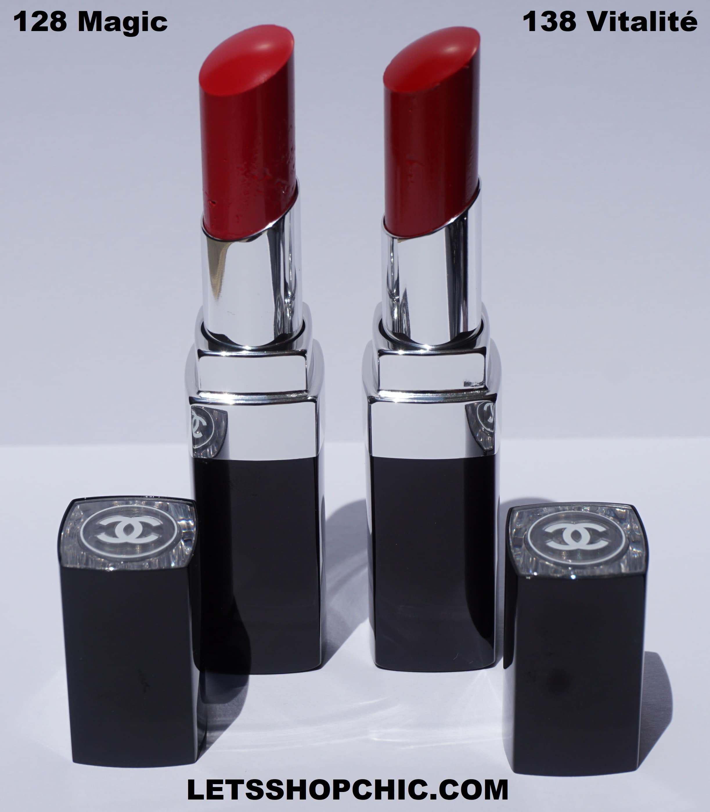 Chanel Rouge Coco Bloom lipstick 128 Magic and Chanel Rouge Coco Bloom lipstick 138 Vitalité