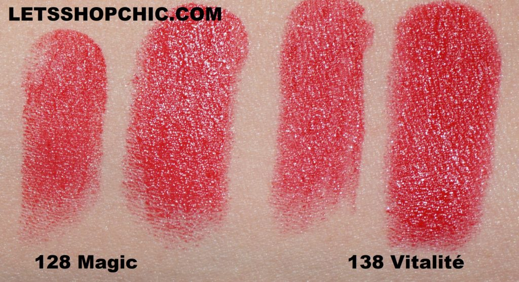 Chanel Rouge Coco Bloom 128 Magic vs Chanel Rouge Coco Bloom 138 Vitalité swatches